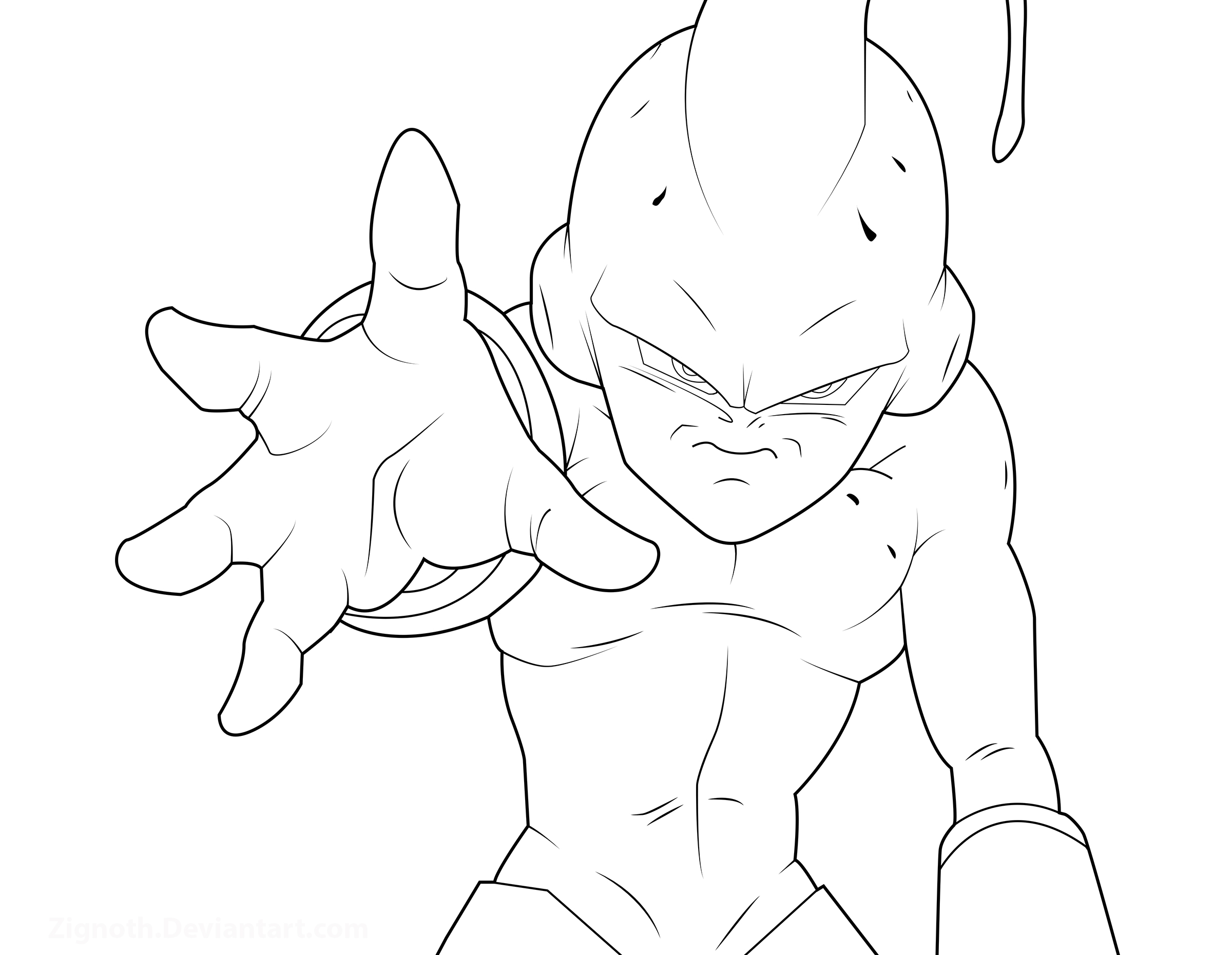 Kid Buu Lineart By Zignoth On DeviantArt