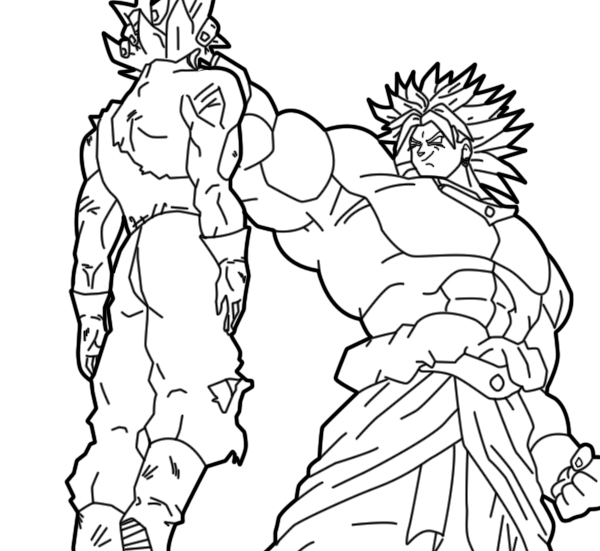 broly vs vegeta lineart by zignoth