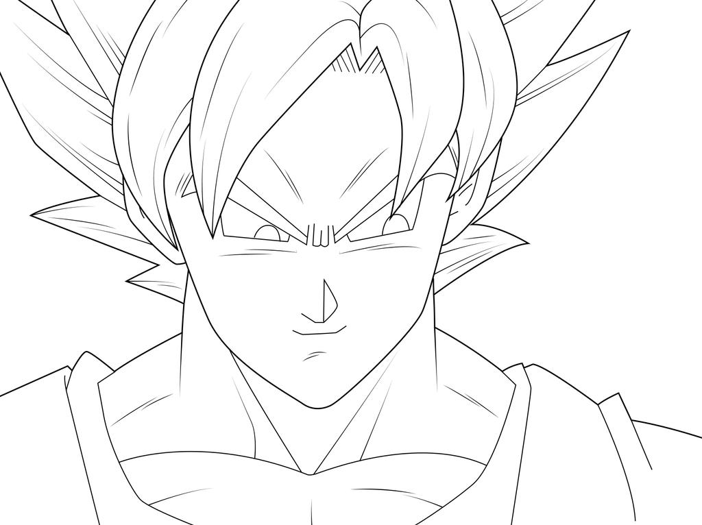 Goku super saiyan lineart by zignoth on deviantart for Goku coloring page