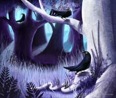 The Ostragon Woodlands Where Bright Ravens Watch by LunaLoveBunny