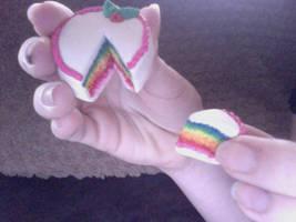 Polymer Clay Rainbow cake by BriannaLeighW