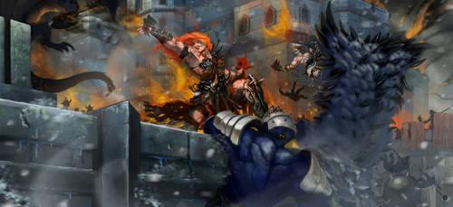 Diablo III Art Barbarians by Disolin