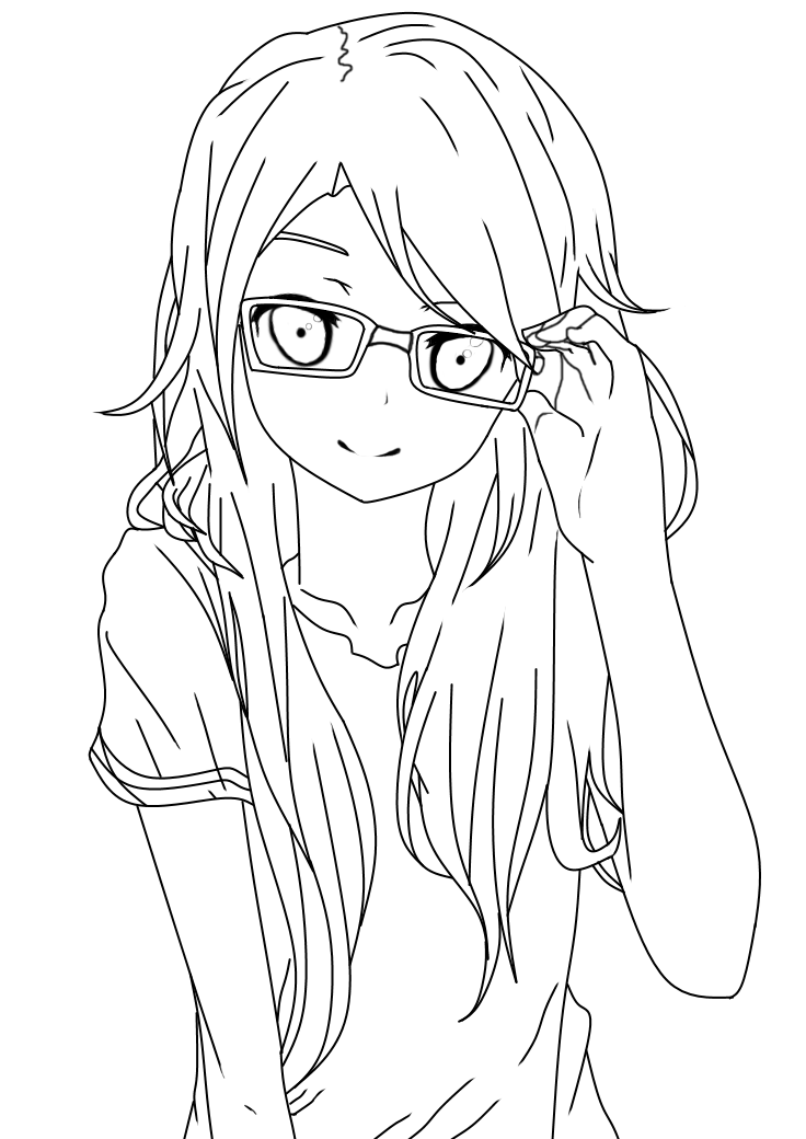 Line Art Deviantart : Girl with glasses lineart by dibandgazbrothersis on deviantart