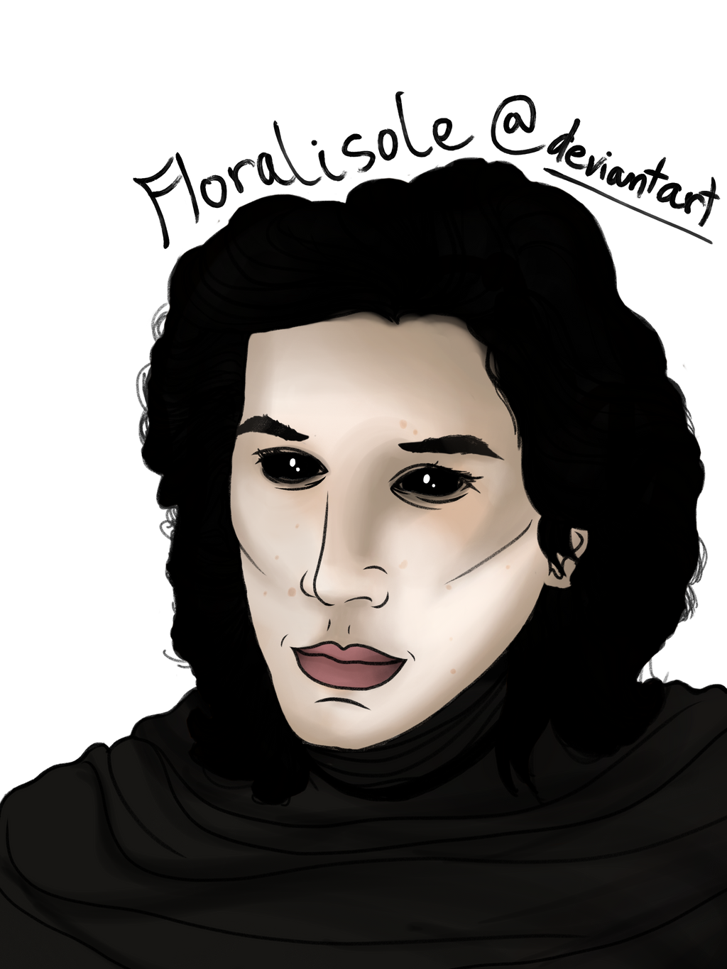 Kylo Ren Adobe Sketch Drawing Black Hair And Eyes By Floralisole On Deviantart