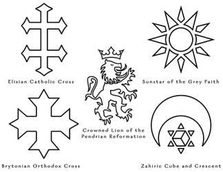 The World of Aeran - Religious Symbols by ZenithComics