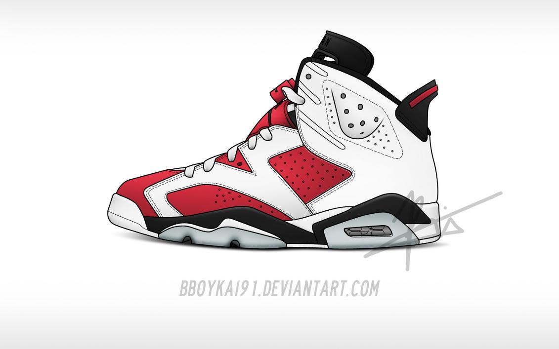 Air Jordan 6 Carmine Cartoon