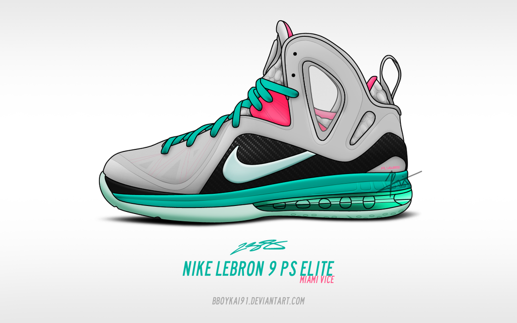 Nike Lebron 9 PS Elite 'Miami Vice' by BBoyKai91