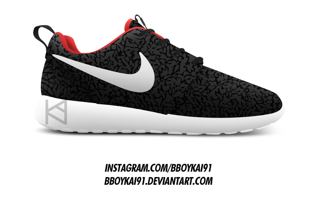 nike roshe runs black cement