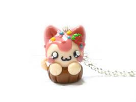 Kawaii Cupcake Cat necklace - polymer clay by TenereDelizie