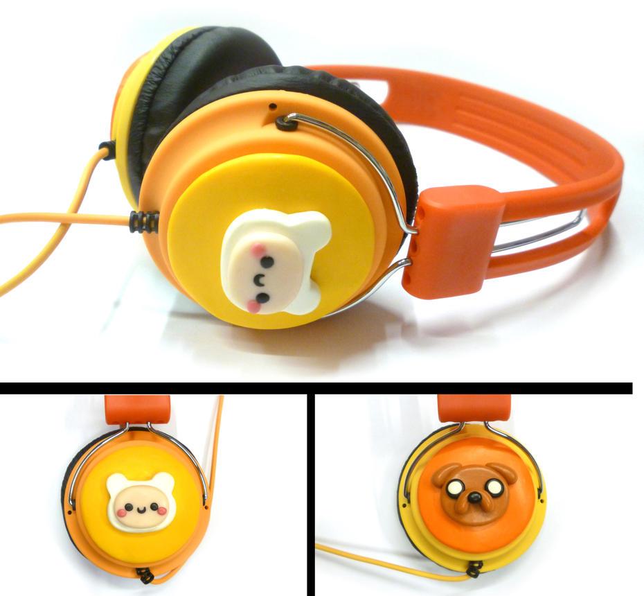 Adventure time headphones - polymer clay by TenereDelizie