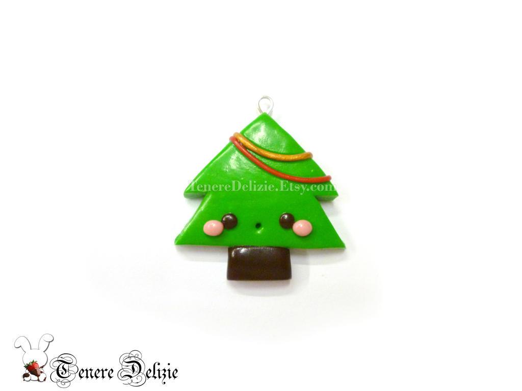 Kawaii Christmas Tree charm - Christmas clay charm by ...