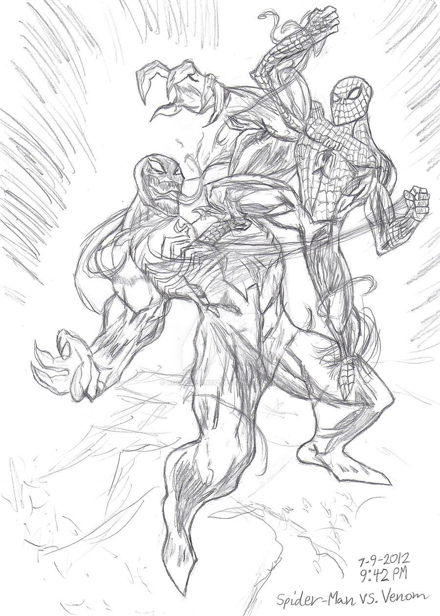 Spider man vs venom by rocketman732 on deviantart for Spiderman vs venom coloring pages