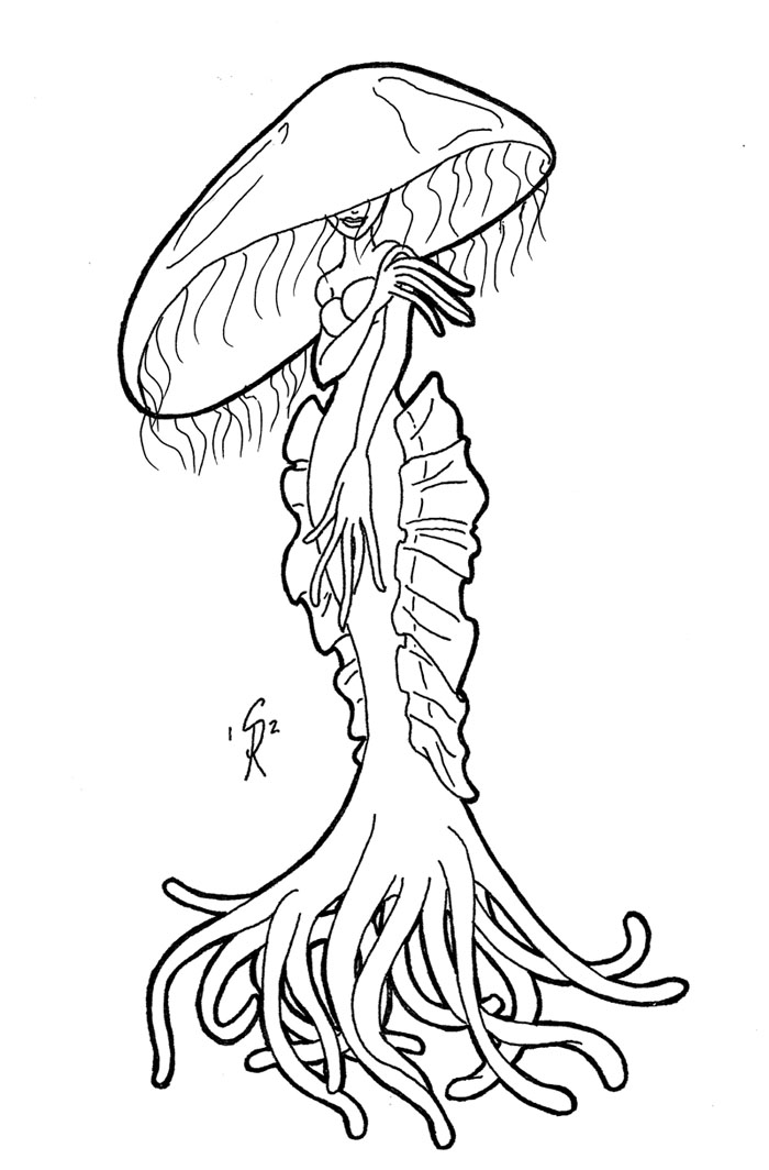 Line Art Jellyfish : Jellyfish lady by gingersketches on deviantart
