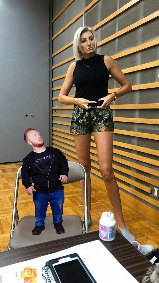 Midget girl and tall man
