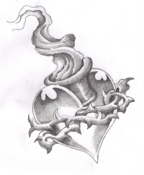 Sacred heart in pencil by inkedpage