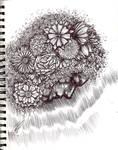 Flowers in Her Hair Pen Drawing