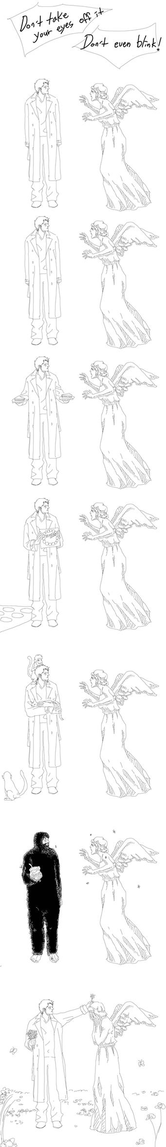 Castiel vs Weeping Angel by sweetdari
