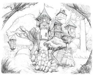 Castle Drawing by Brandonstarr