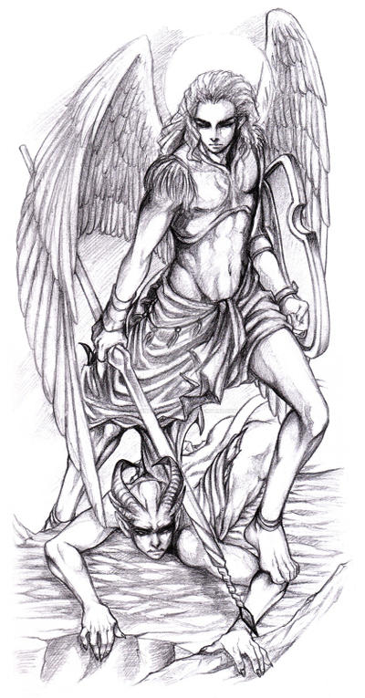 Michael and lucifer by garnetquyendinh on deviantart for Archangel michael coloring page