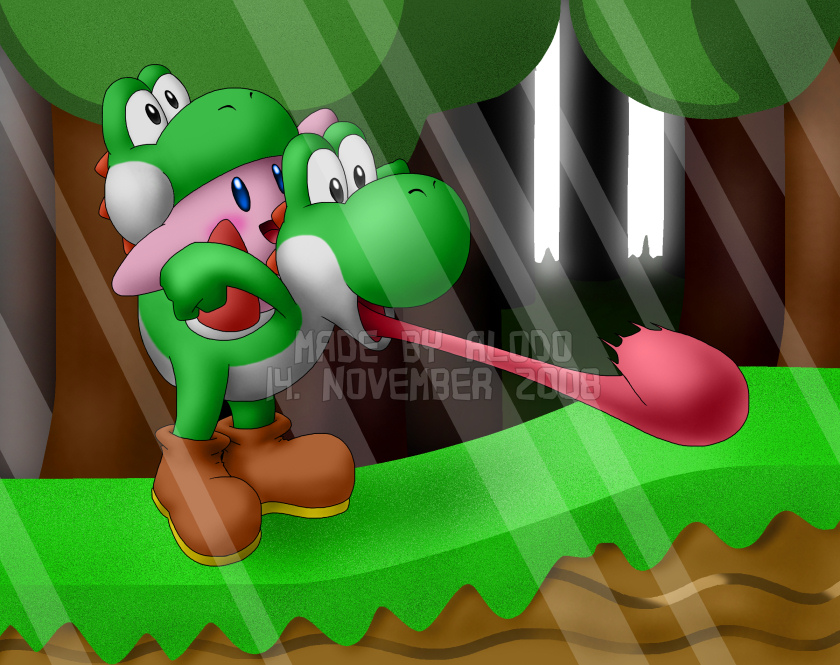 Yoshi and Kirby by Alodo on DeviantArt