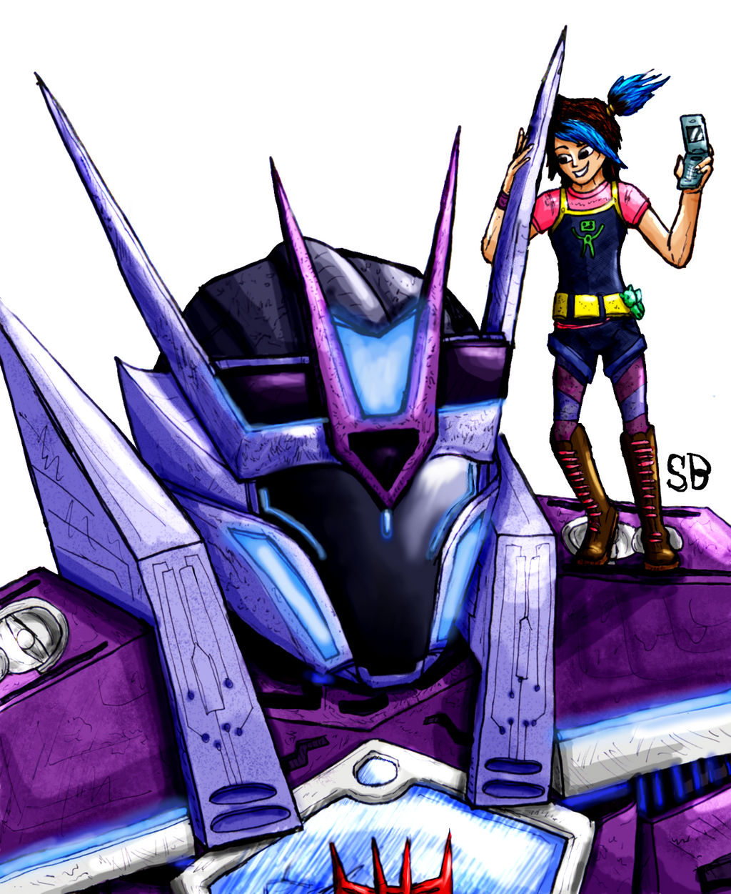 Miko and Soundwave (Shattered Glass) by SoundBluster on