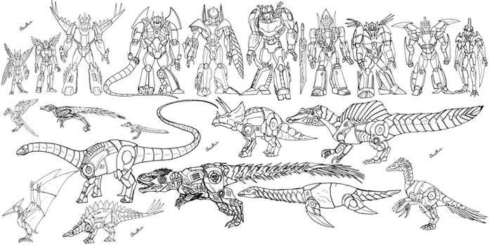 Shattered Glass Dinobots (Lineart)
