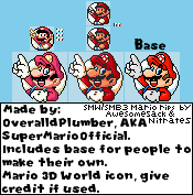 SMW and SMAS SMB3 SM3DW Mario character icon by SuperMarioOfficial