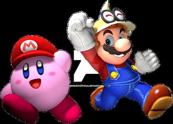 Super Mario Odyssey Render - Mario and Kirby