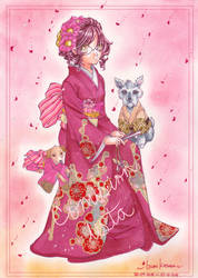 ::COMISSION:: .:Red Kimono:. by izumika