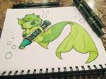 Mermaid Crayon Color Green