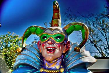 Mardi gras jester on decatur street. by gravedesires777