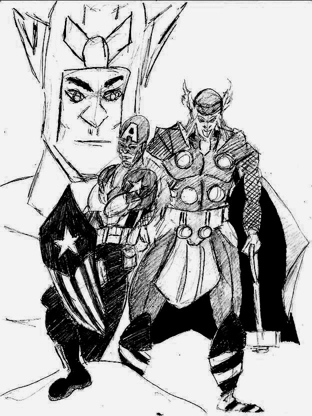 Captain America and Thor by 1niteknightgoes