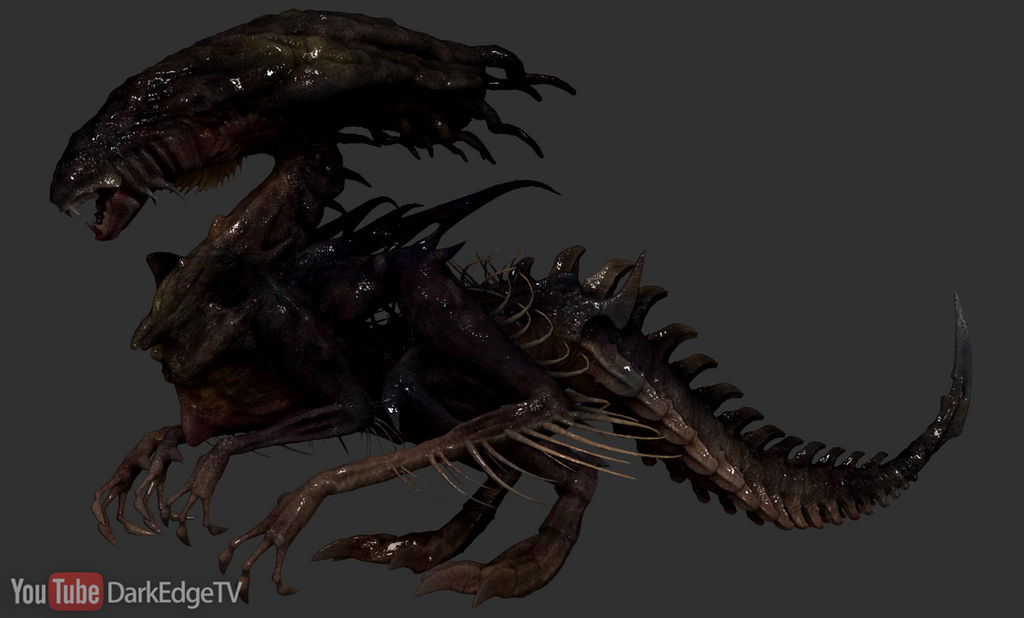 ZBrush - Draconic Xenomorph Queen SIDE VIEW by Rebecca1208