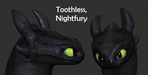 Toothless, Nightfury Portrait - ZBrushCore by Rebecca1208