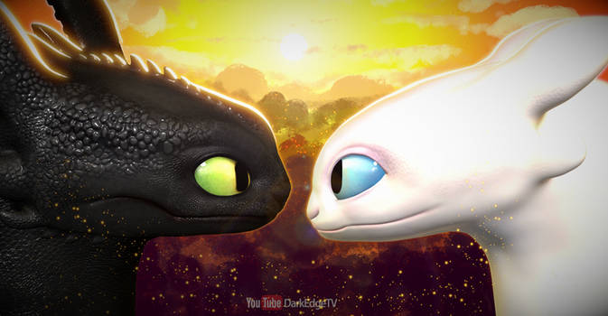 Toothless + Light Fury - How to Train Your Dragon by Rebecca1208