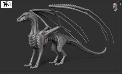 ''Xeno-Dragon'' WIP - ZBrush COMMISSION