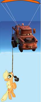 Mater and Applejack go parasailing
