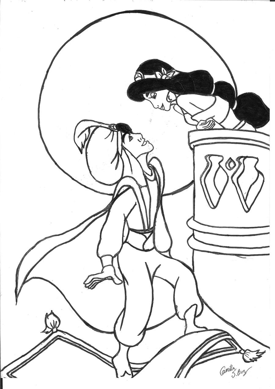 Aladdin balcony scene sketch by gullsko on deviantart