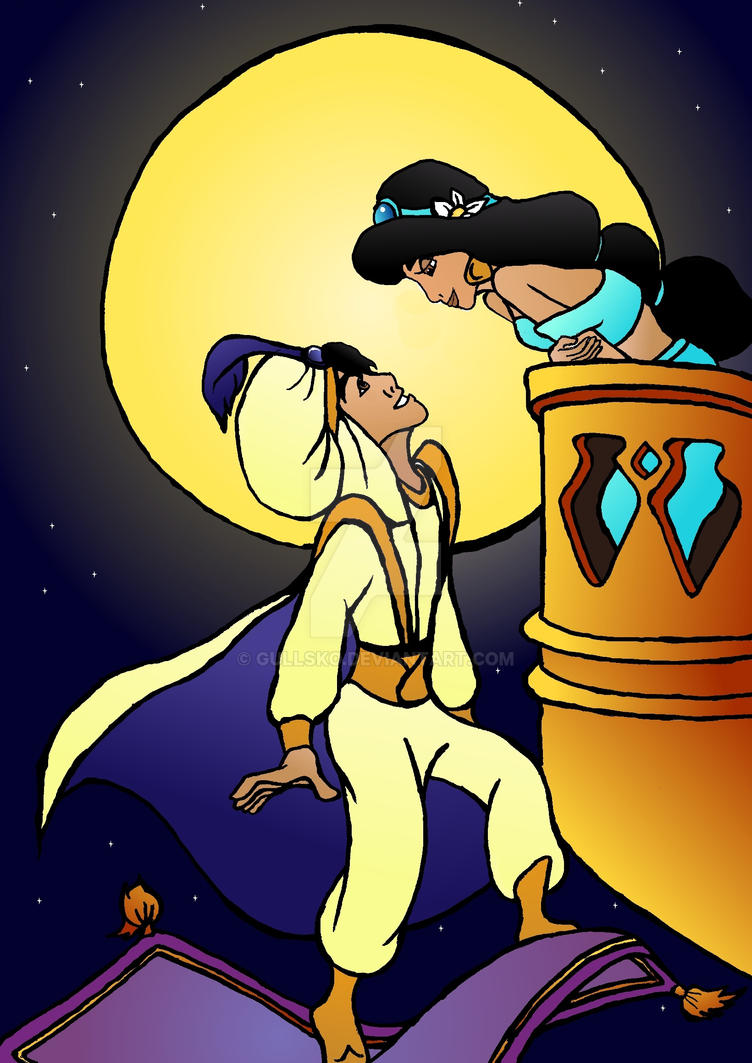 Aladdin balcony scene colored Aladdin And Jasmine Balcony