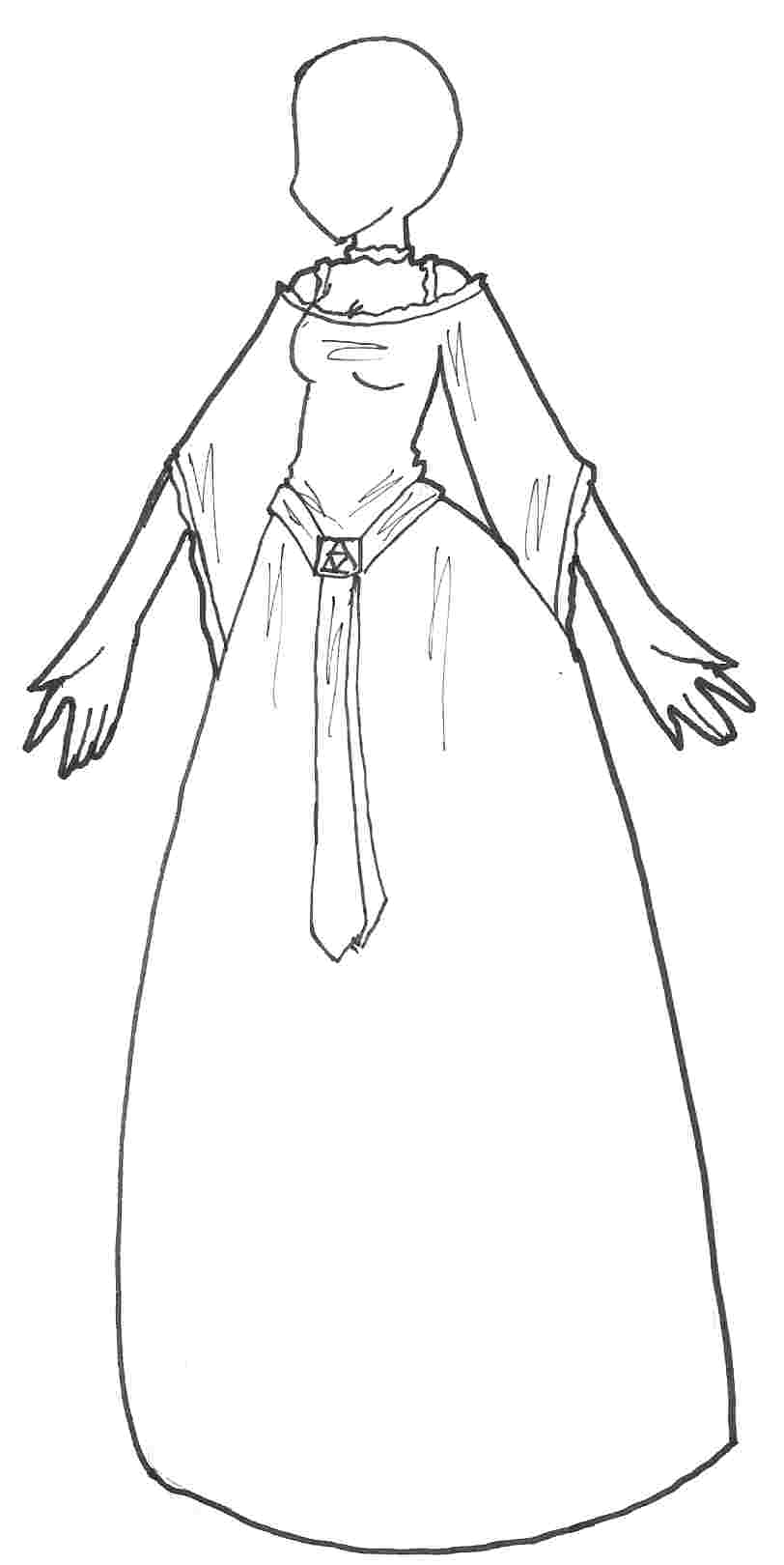 Prom Dress Cartoon Images Sketch Coloring Page