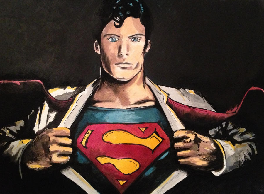 Superman Watercolor by LordColinOneal