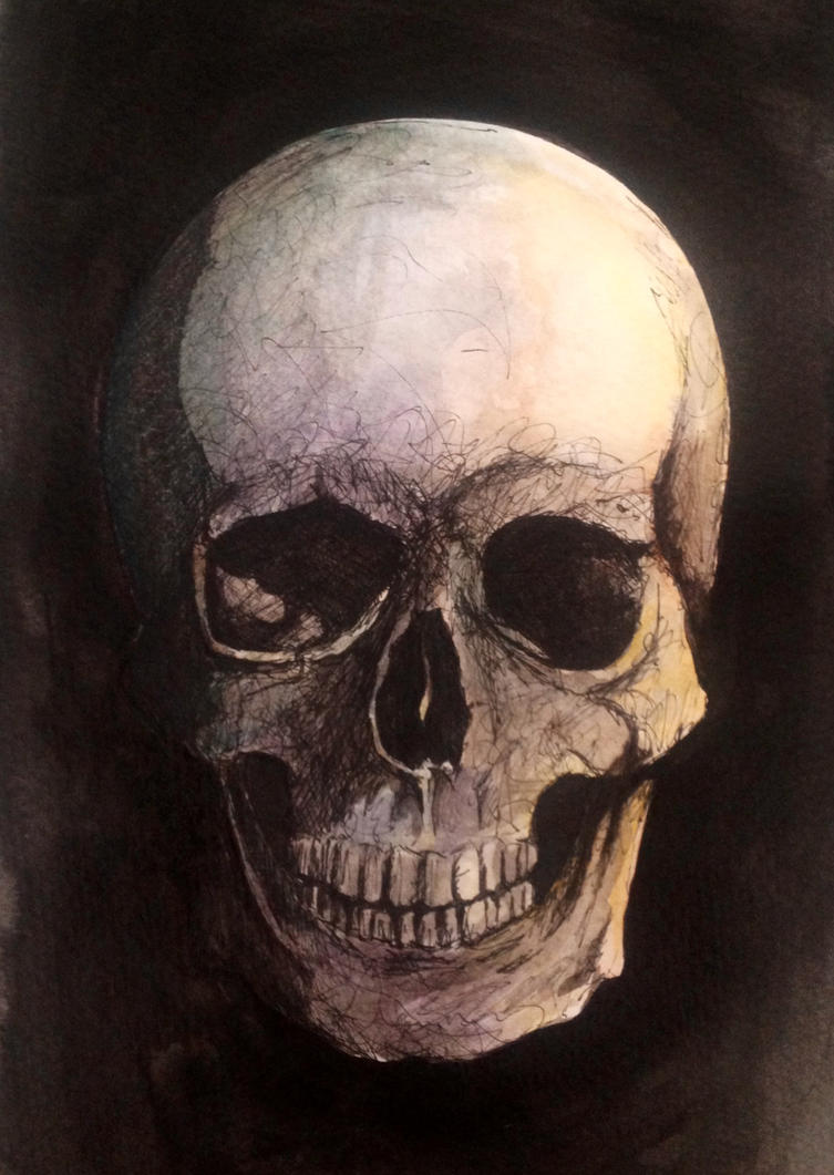 Watercolor Skull by LordColinOneal