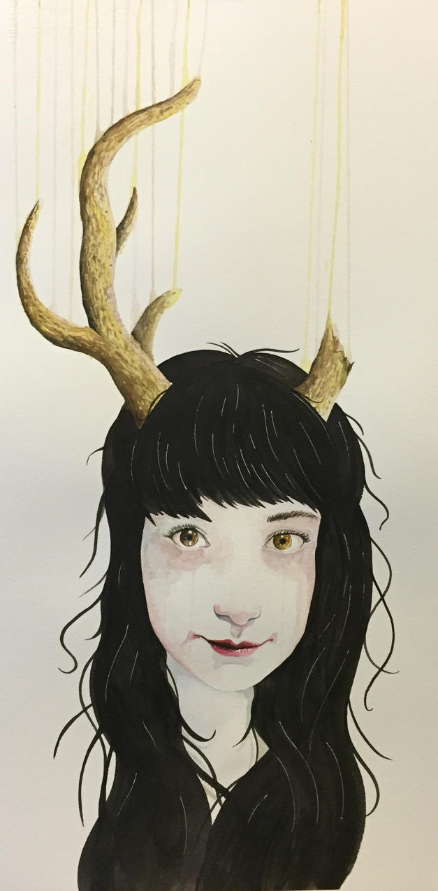 Girl with Antlers (Watercolor) by LordColinOneal