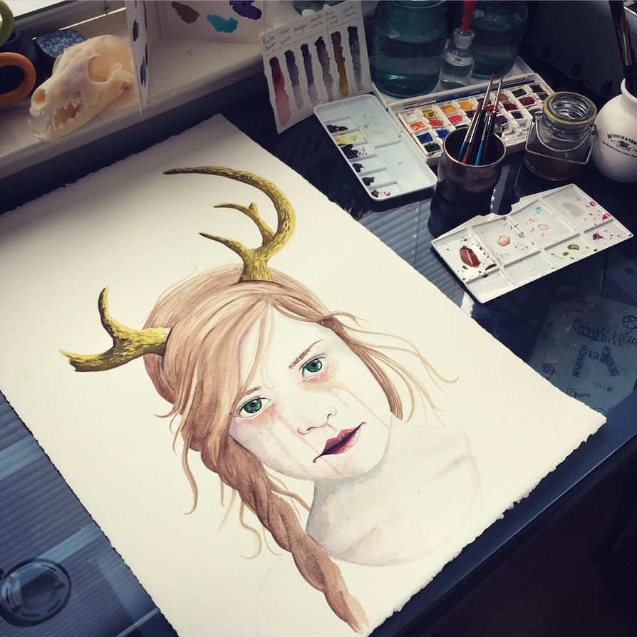 Girl with Antlers II (WIP) by LordColinOneal