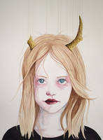 Girl with Antlers III (Watercolor) by LordColinOneal