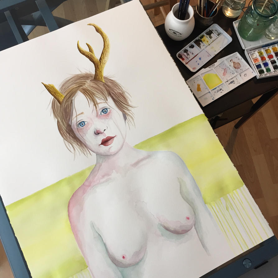 Girl with Antlers IV (WIP) by LordColinOneal