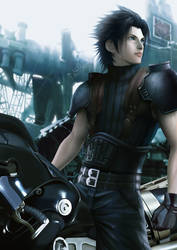 Zack rides Fenrir (Cloud motorcycle)