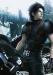 Zack rides Fenrir (Cloud motorcycle)