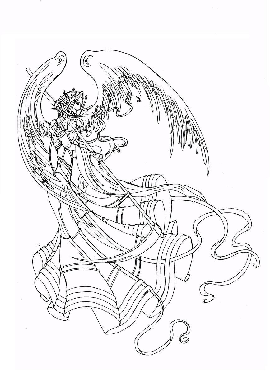 Line Art Angel : Angel line art by anarielhime on deviantart