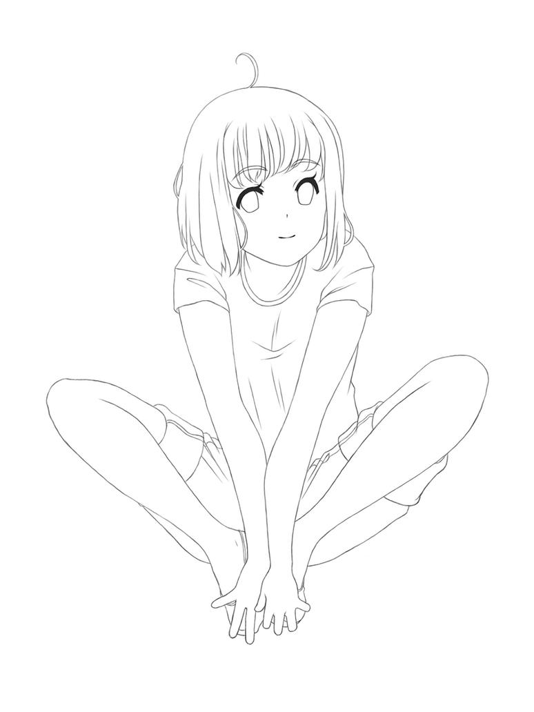 anime girl sitting template